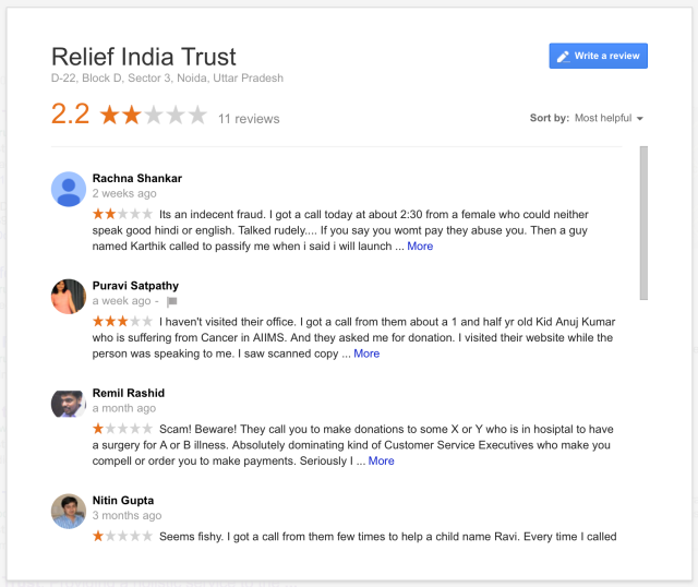 Relief India Trust Google Reviews